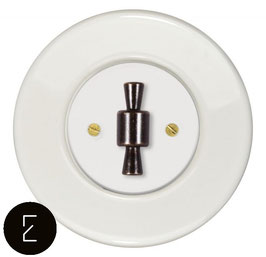 Interrupteur rétro porcelaine blanche, enjoliveur blanc, bouton OBZ patiné
