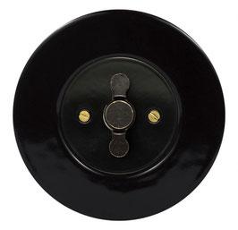 Interrupteur Rétro Porcelaine Noire, enjoliveur noir, bouton ZLN patiné
