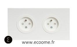 Double prise de courant en aluminium blanc