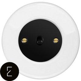 Interrupteur rétro en porcelaine blanche, enjoliveur noir, bouton à levier noir