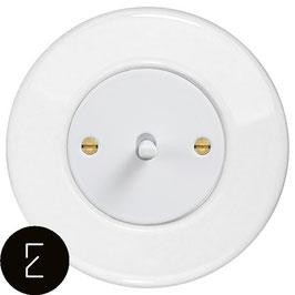 Interrupteur rétro en porcelaine blanche, enjoliveur blanc, bouton à levier blanc