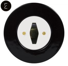 Va et Vient Rétro Porcelaine Noire, enjoliveur blanc, bouton BTA patiné