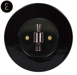 Va et Vient Rétro Porcelaine Noire, enjoliveur noir, bouton OBZ patiné