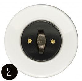 Interrupteur rétro porcelaine blanche, enjoliveur noir, bouton BTA patiné