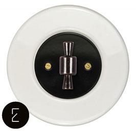 Interrupteur rétro porcelaine blanche, enjoliveur noir, bouton OBZ patiné