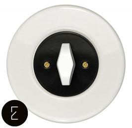 Interrupteur rétro porcelaine blanche, enjoliveur noir, bouton BTA blanc