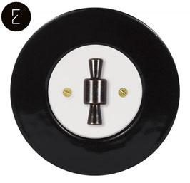 Interrupteur Rétro Porcelaine Noire, enjoliveur blanc, bouton OBZ patiné