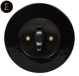 Va et Vient Rétro Porcelaine Noire, enjoliveur noir, bouton BTA noir