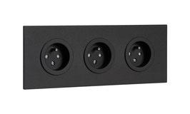 Triple prise de courant en aluminium noir