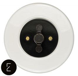 Interrupteur rétro porcelaine blanche, enjoliveur noir, bouton ZLN patiné