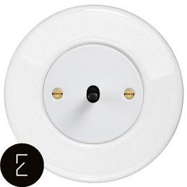 Interrupteur rétro en porcelaine blanche, enjoliveur blanc, bouton à levier noir