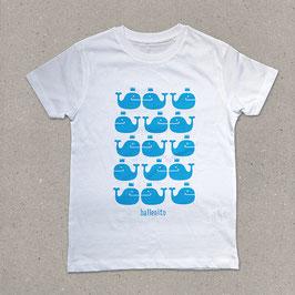 Ballenito T-Shirt mit Wal-Muster in weiß oder grau