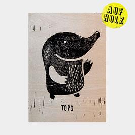 BÙHO die Eule und TOPO der Maulwurf – Linoldruck auf Holz