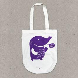 Stofftasche weiss – Maulwurf in violett