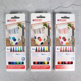 Edding, Porzellanstifte, BrushPens, 6er-Set