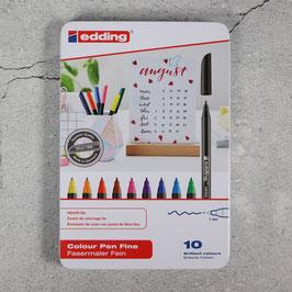 Edding Color Pen 10er-Set in Metalletui, 1mm (1200) oder 2mm (1300)