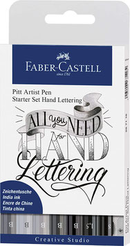 Faber-Castell, Pitt Artist Pen, Starter Set Handlettering, grau-schwarz