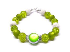 Armband Grün Weiß - Luna Strass - WOODFAIRY
