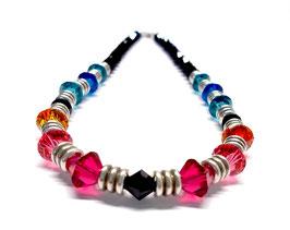 Kette glitzernd - Kristall & Metall - Dunkelblau & Bunt - Kristalle von Swarovski® - Choker 40 cm - Metal Shine Color Night