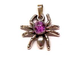 Schmuckanhänger Spinne mit pinker Glasperle - Metall