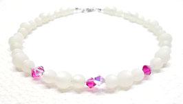 Choker glitzernd weiß pink - Polarisperlen - Kristalle von Swarovski® -  kurze Kette 38 cm - Frosty