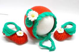 Baby-Erdbeermütze & Babyschuhe 0-4 Monate - Babyset Frühling Sommer -  Babykleidung gestrickt - Babykleidung Wolle