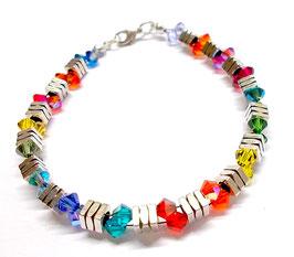 Armband Regenbogen - bunt glitzernd - Kristalle von Swarovski® - METAL SHINE Regenbogen