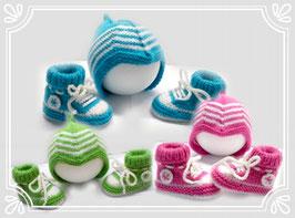 Baby Turnschuhe Babymütze Jungen und Mädchen 0-3 Monate Erstlingsset Babykleidung Wolle