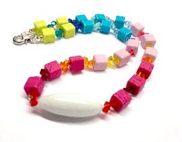 Kette Regenbogen - kurze Kette 42 cm - Polarisperlen & Swarovski® Kristalle - Kette Rainbow