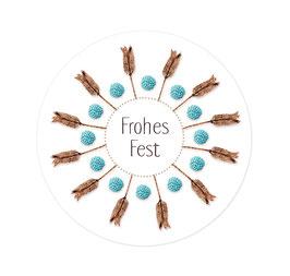 Aufkleber Natursonnen Frohes Fest blau 50 mm