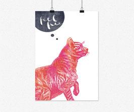 Druck FEEL FREE Motiv: Katze