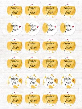 Aufkleber FROHES FEST, Gold simuliert Potpourri