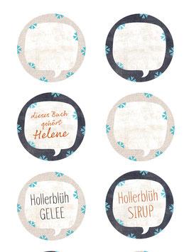 Etiketten Herz-Blüten-BLAU