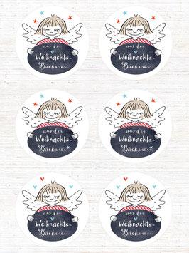 12 Etiketten Weihnachtsbäckerei mit Engelchen, 60mm