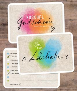 2er-Set Grußkarten: Ich liebe dein Lächeln & Kuschelgutschein