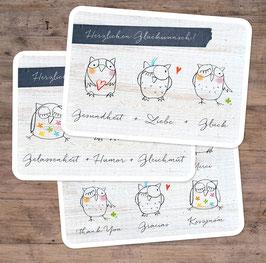 """3er-Set Postkarten """"freche Eulen"""""""
