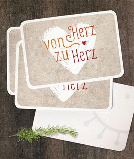 """3er-Set Grußkarten: """"Von Herz zu Herz"""""""