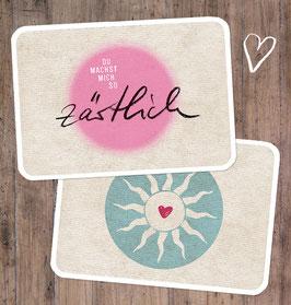 """2er-Set Postkarten: """"zärtlich"""" & """"Sonnenherz"""""""