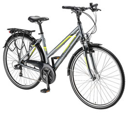 Damen Trekkingbike Piazza 21 Gang Trapetz Silbergrau/grün