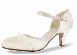 Brautschuh-Premium-Pumps, Satin Ivory-Ivory-Glitter, 55mm,Brautschuhe