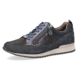 Caprice Sneaker Blau-Shiny,Leder Comfort Weite G-H, mit seitlichem Reißverschluß
