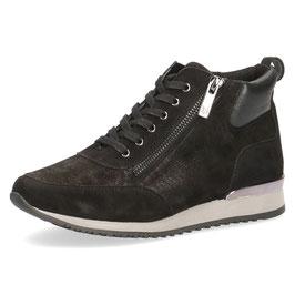 Caprice Sneaker-High Schwarz Shiny,Comfort Weite G-H, Reißverschlüsse auf Innen-u.Aussenseite