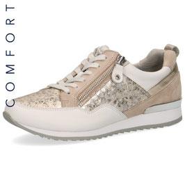 Caprice Sneaker Weiss-Beige/Gold,Comfort Weite G-H, mit seitlichem Reißverschluß