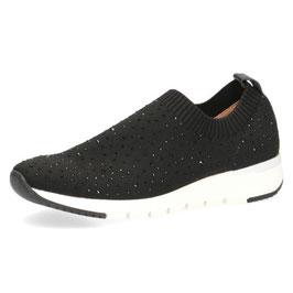 Caprice Sneaker Schwarz mit schwarzen Strasssteinen,Comfort Weite G-H