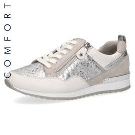 Caprice Sneaker Weiss-Silver,Comfort Weite G-H, mit seitlichem Reißverschluß