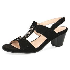 Caprice Fashion Sandalette Nubukleder mit Schmuckbesatz Schwarz 45mm