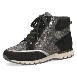 Caprice Sneaker-High Schwarz Reptil,Comfort Weite G-H, Reißverschlüsse auf Innen-u.Aussenseite