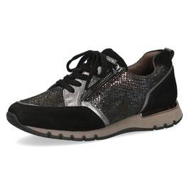 Caprice Sneaker Schwarz Reptil,Comfort Weite G-H, mit seitlichem Reißverschluß