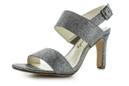 White Lady Fashion-Premium Sling Silber-Metallic Leder 70mm
