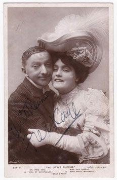 "Evie Greene and Fred Kaye ""The Little Cherub"" Rotary 3261 F. Signed postcard"